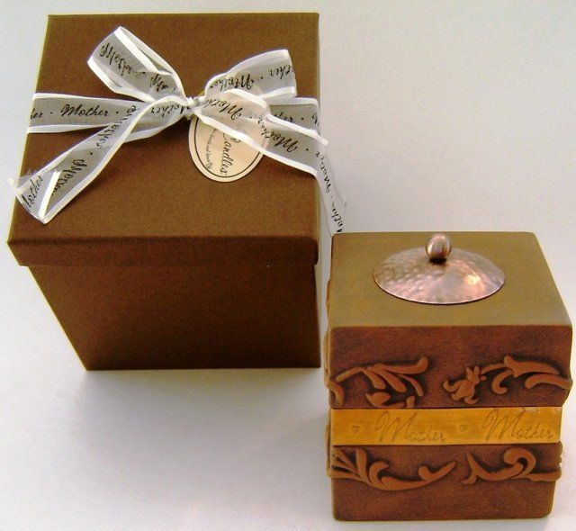 Candle HOLDER MOTHER Gift box Unused TEA LIGHT Copper Band Comfort New (GIF-50)