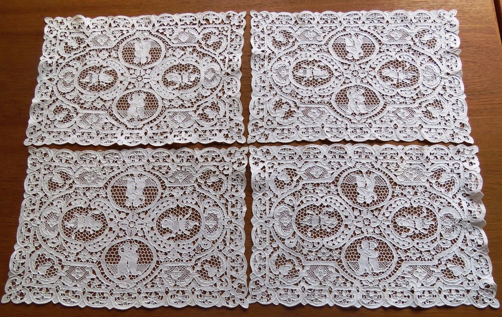 4 Antique Lace Placemats White Needlelace Figural Table Place Mat Set Lady Woman (L&T-253)