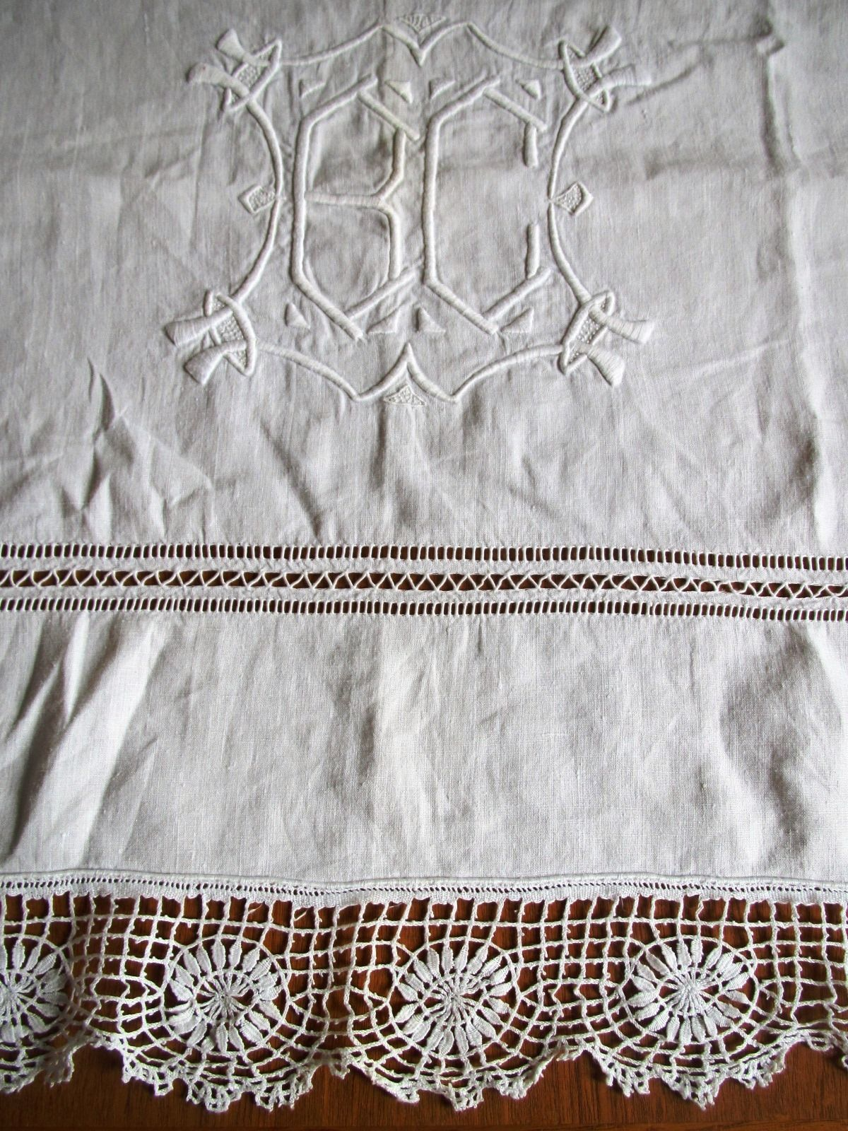 "Antique French Sheet Linen Embroidered Lace Edging Monogram B C 94"" (L&T-298)"