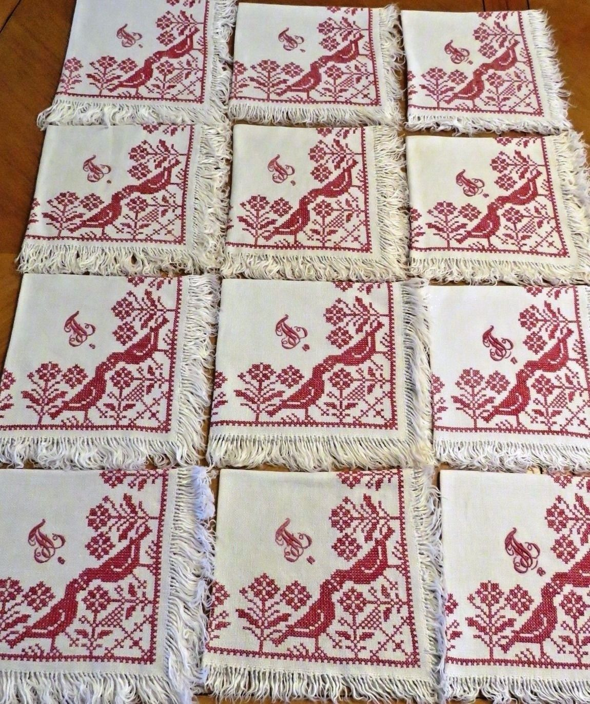 Antique Linen Napkins Embroidered Monogram Numbered Set of 12 Redwork Embroidery (L&T-345)