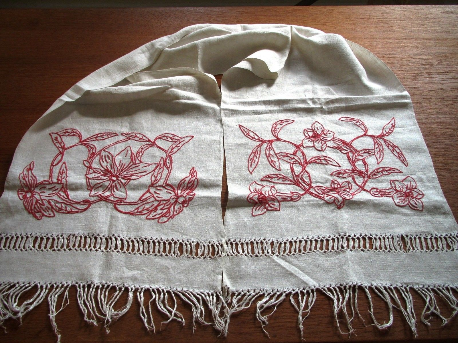 Antique Linen Runner Table Dresser Embroidered Scarf Red Hand Embroidery Redwork (L&T-348)