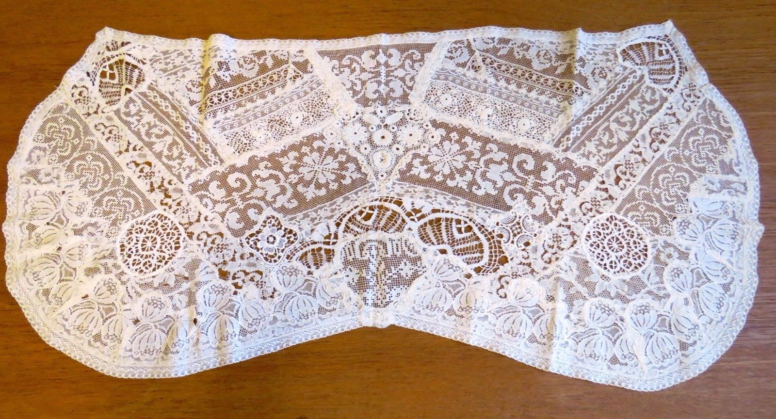 Antique Runner Normandy Lace Table Doily Handmade Dresser Scarf Sampler Mat (L&T-370)