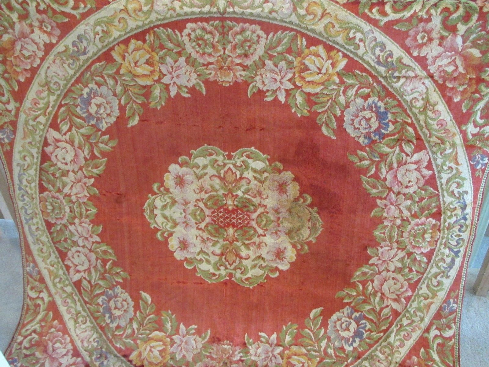 "Antique Tapestry Floor Runner Wall Display Panel Plush Red FLOWERS 48"" (L&T-385)"