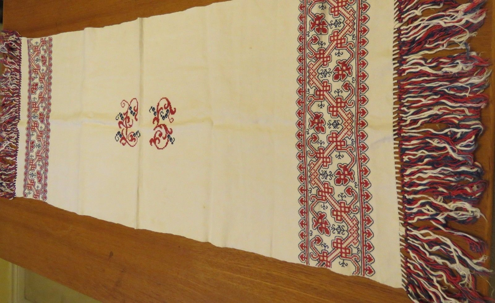 Antique Towel Embroidered Table Runner Monogram L S Fringed Hand Cross Stitch (L&T-386)