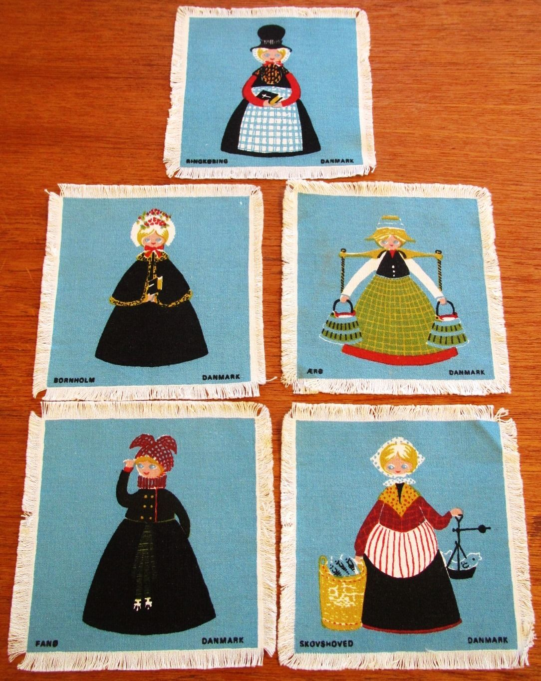 Vintage Cocktail Napkins Coaster Set Linen Danish Silkscreen Lady ladies Table (L&T-414)