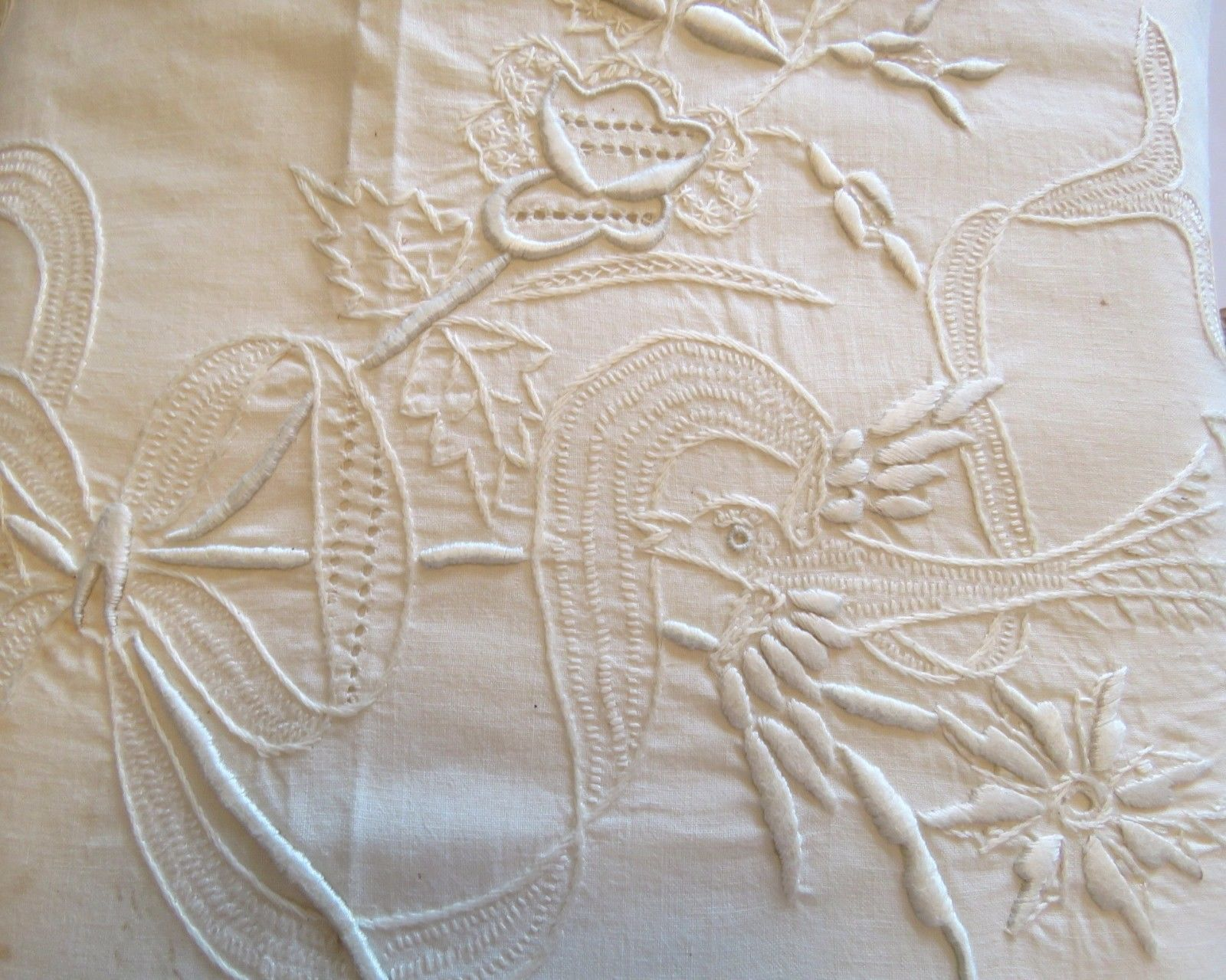 Vintage Hand Embroidered Sheet Birds Flowers Whitework Cream Cotton Bedsheet (L&T-425)