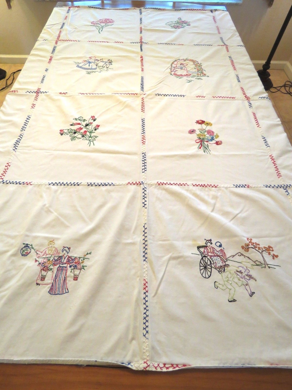 Vintage Bed Cover Cotton Hand embroidery Tablecloth Embroidered Figural Flowers (L&T-473)