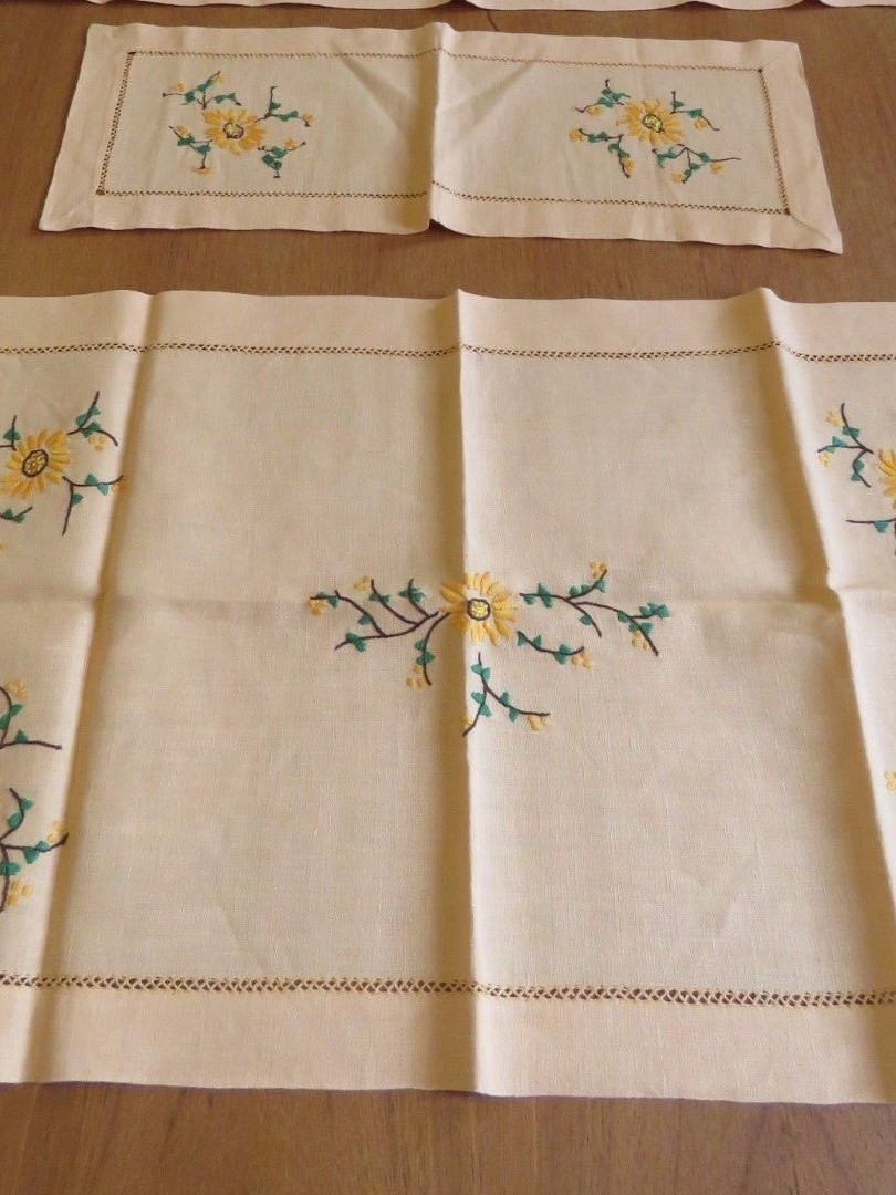 Vintage Linen Table Runners Table Cover Hand Embroidered Flowers Drawn work 3 pc. (L&T-480)