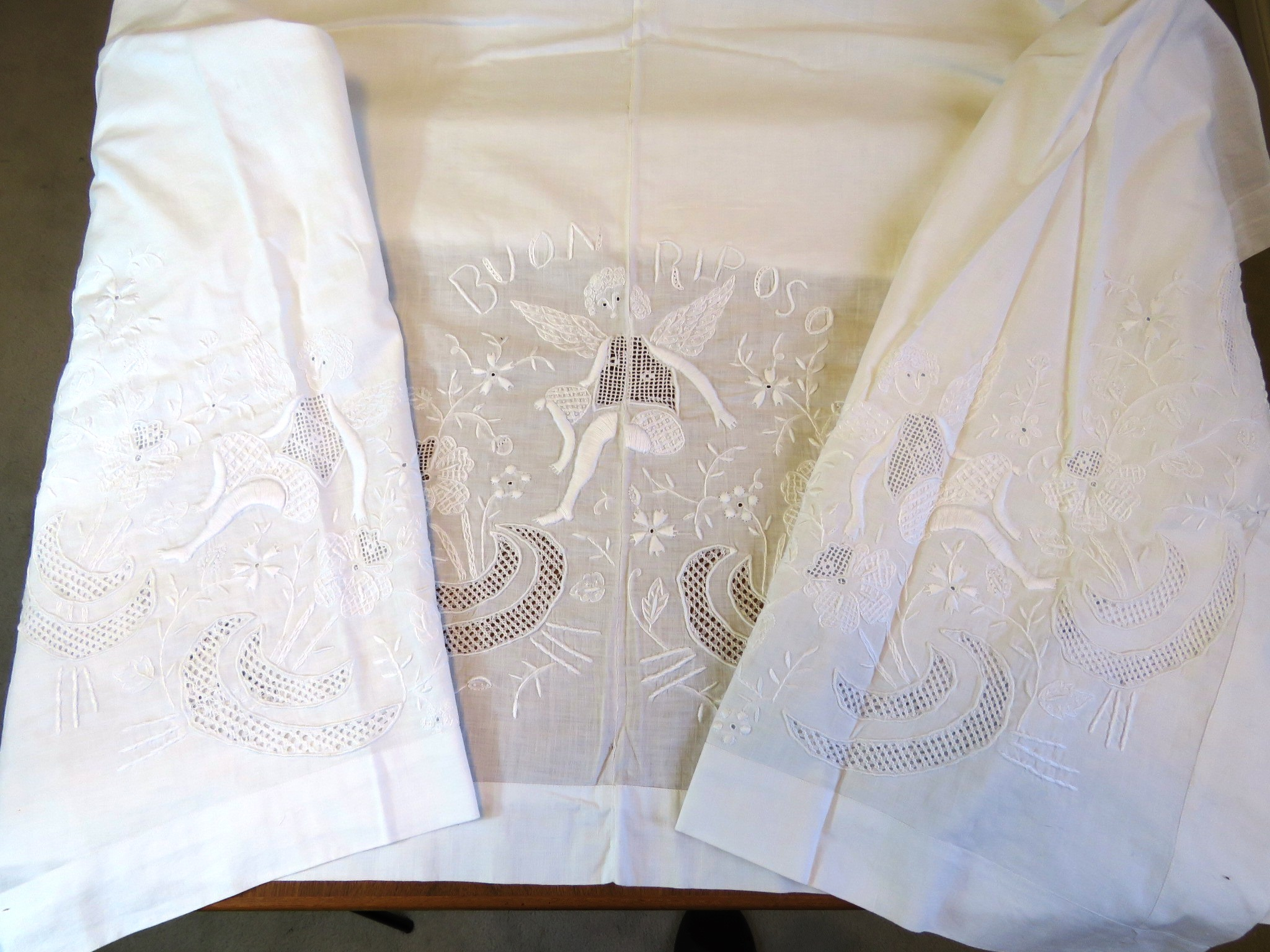 Antique Italian Cotton Sheet Hand Embroidered Angels Cherubs Whitework Italian words Buon Riposo (L&T-519)