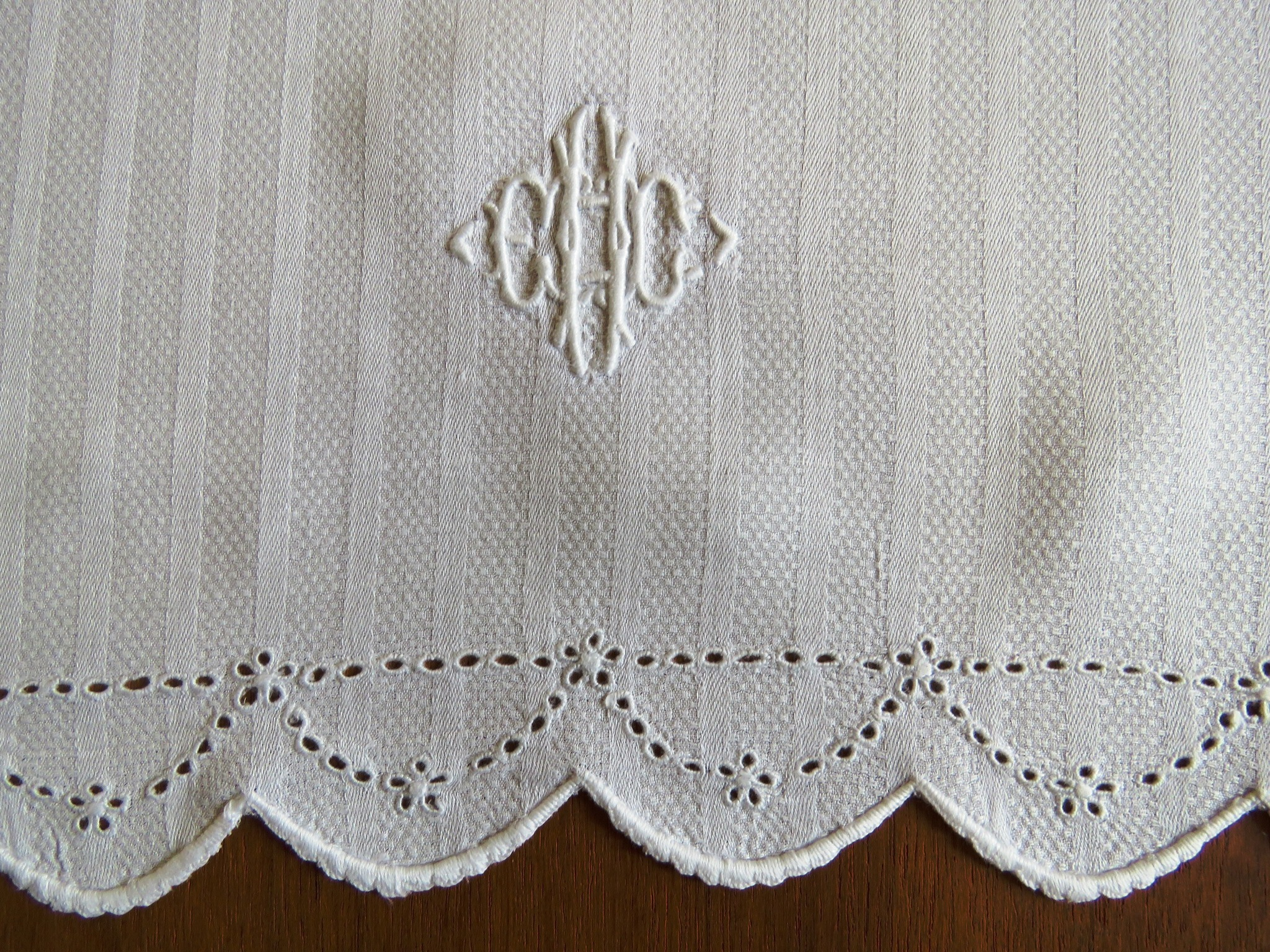 Antique Vintage Bath Towel Damask Huck Linen E H C Monongram Embroidered Cutwork (L&T-561)