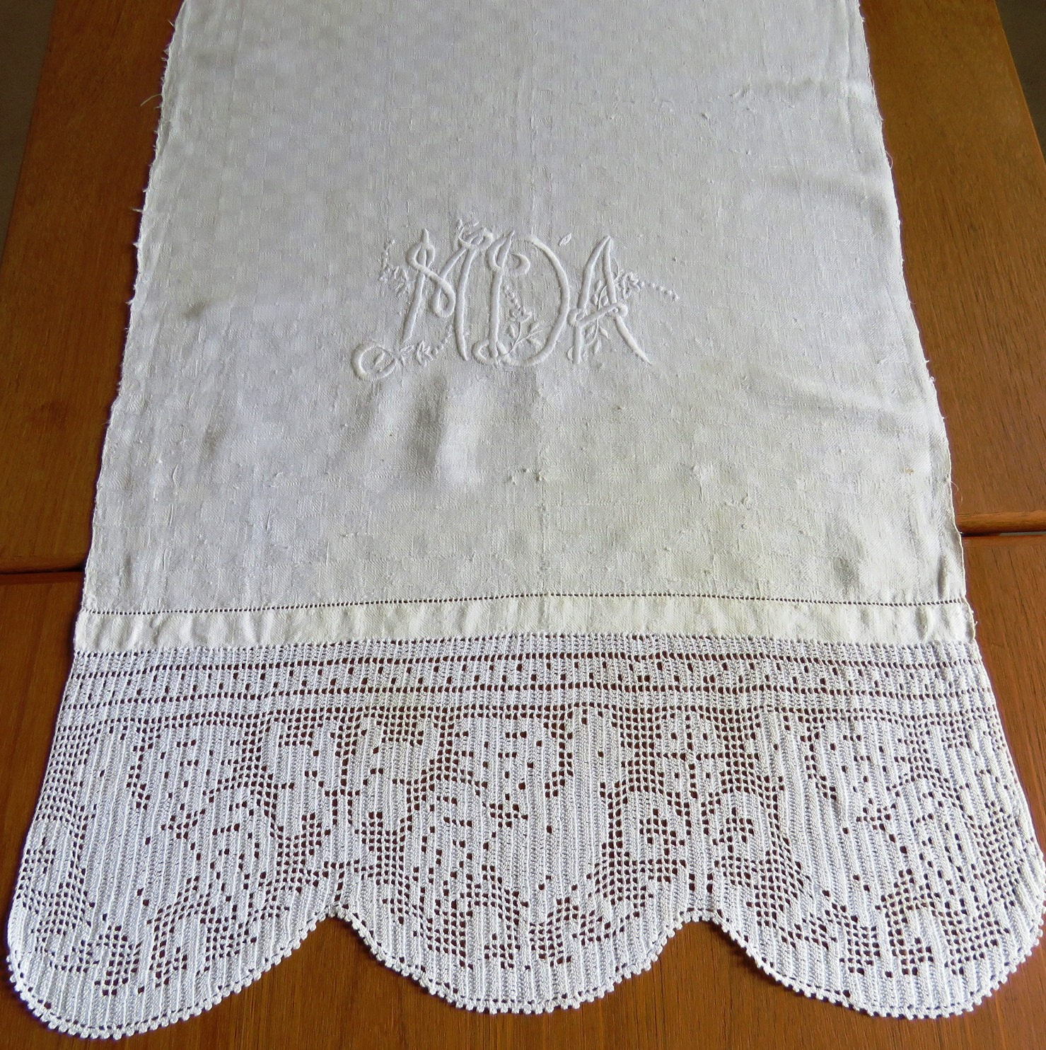 "Antique Linen Bath Towel Embroidered Monogram M D A Hand Crochet Lace 62"" x 22""  (L&T-607)"