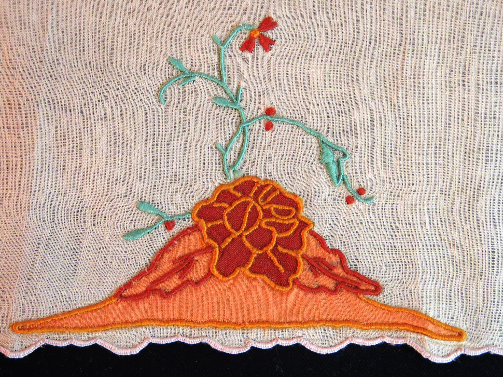 Vintage Towel Embroidered Guest Finger Hand Flowers Embroidery Salmon (L&T-677)