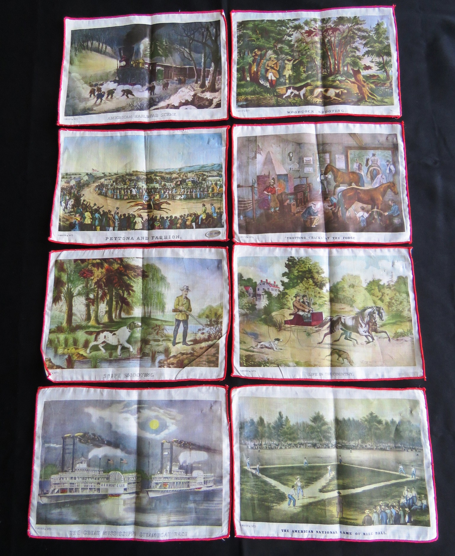 8 Vintage Cocktail Napkins Currier & Ives Table Coaster Mats Printed Graphics (L&T-720)
