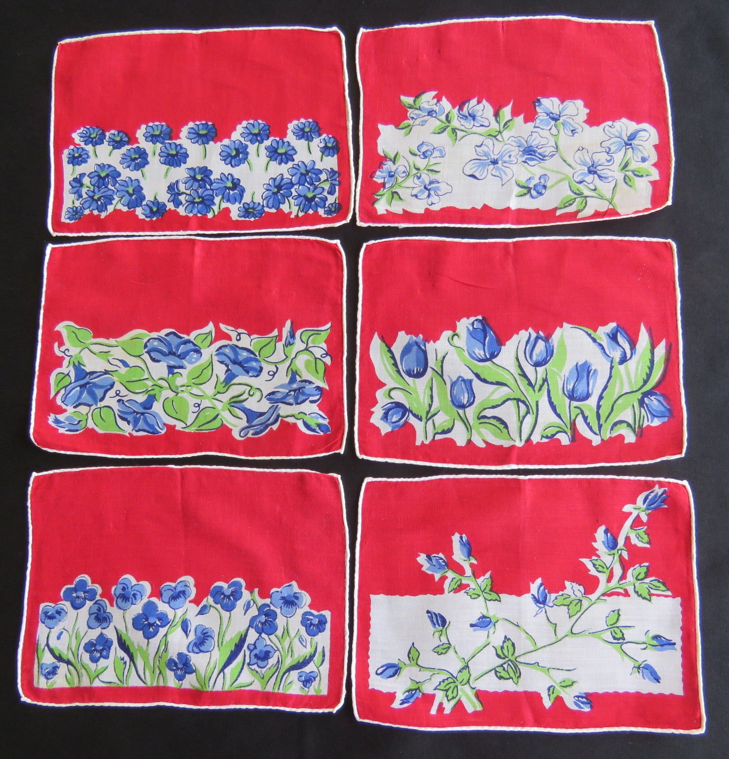 6 Vintage Cocktail Napkins Flowers 1950 Mid Century Table Coasters (L&T-732)