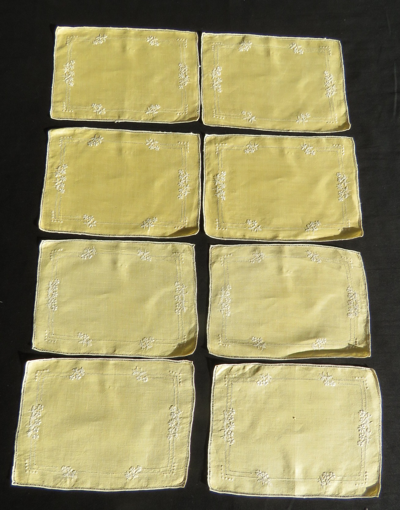 8 Vintage Cocktail Napkins Embroidered Table Coasters Gold Yellow Color (L&T-738)