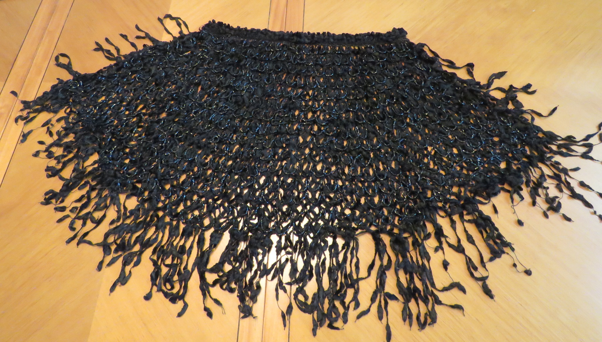 Antique Victorian Mourning Black Cape Capelet Mantle Silk ribbon Chenille glass beads (LAC-269)