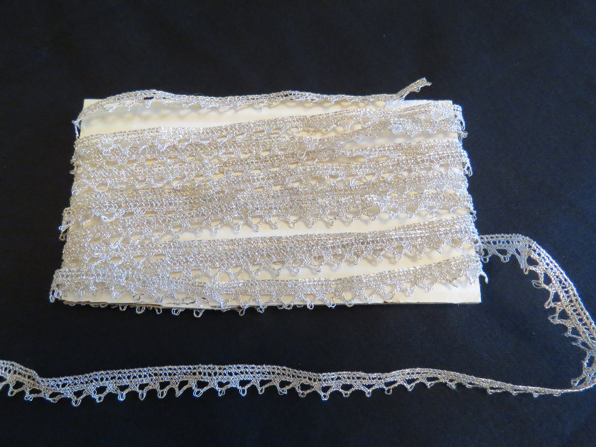 Antique Lace Trim Metallic Silver French Metal Passementerie Picot Pointed Edge (LAC-301) in Lace