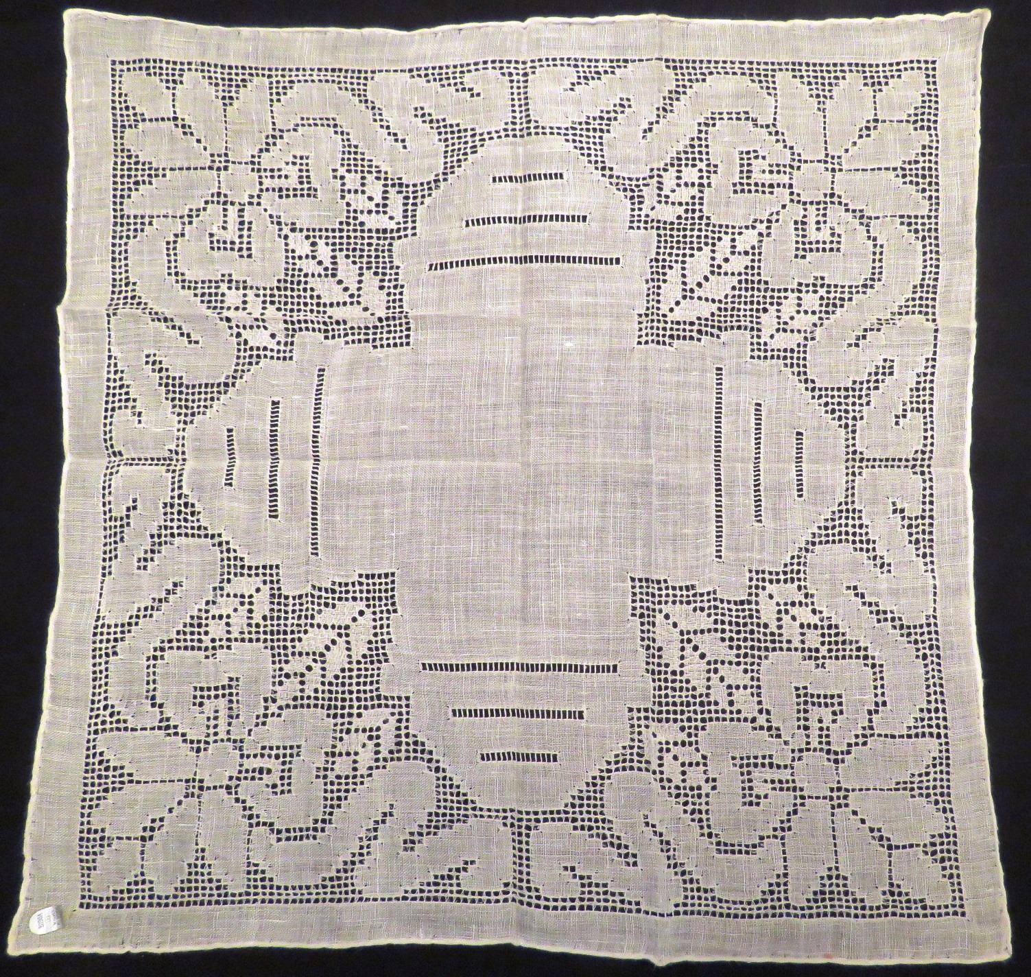 Vintage Linen Handkerchief White Wedding Bridal Hankie New Label Art Deco Pierced  Drawnwork (LAC-304) in Lace