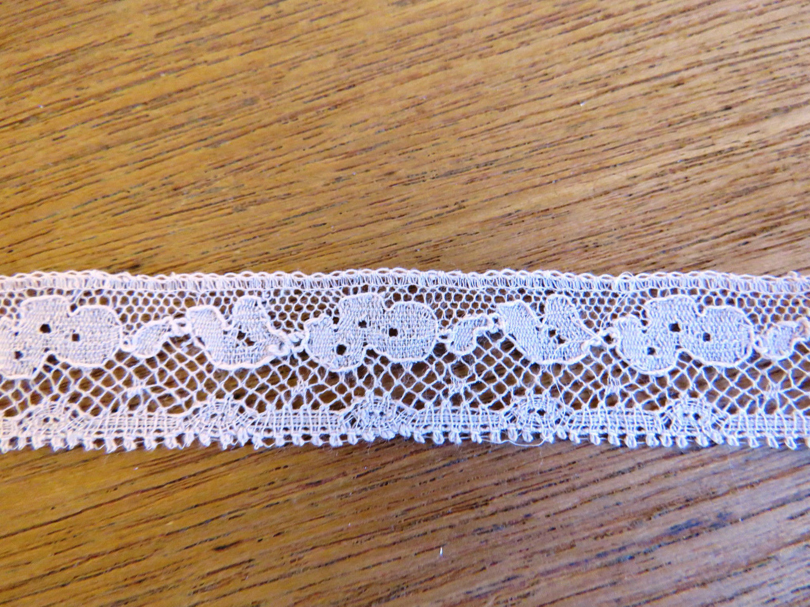 "Antique French Lace Trim Picots Edging 36"" x 5/8"" Rose Pink color (LAC-33)"