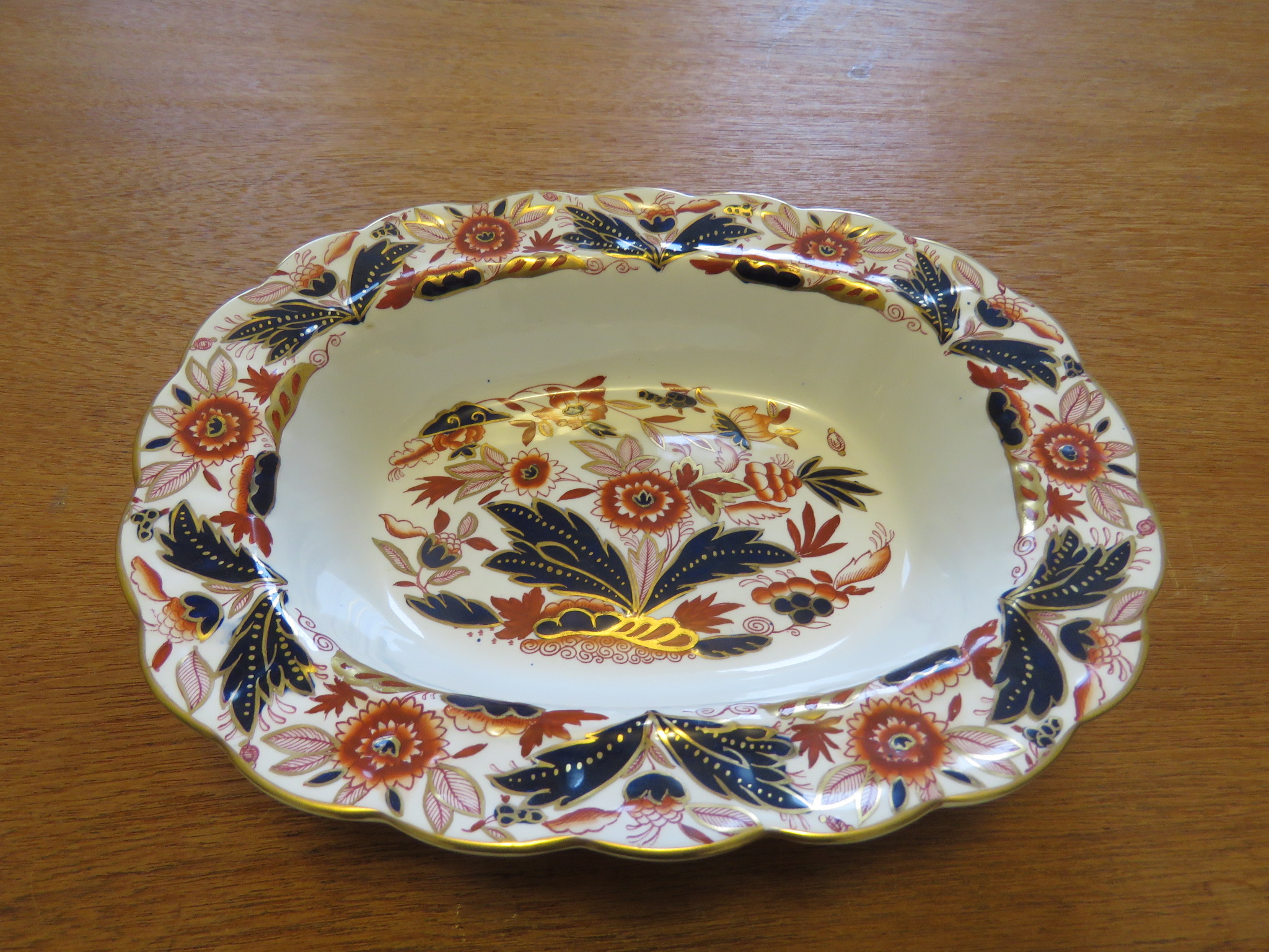 "Antique Vegetable Bowl Serving Dish Imari Booths DOVEDALE A8044 10"" Oval (POT-138)"