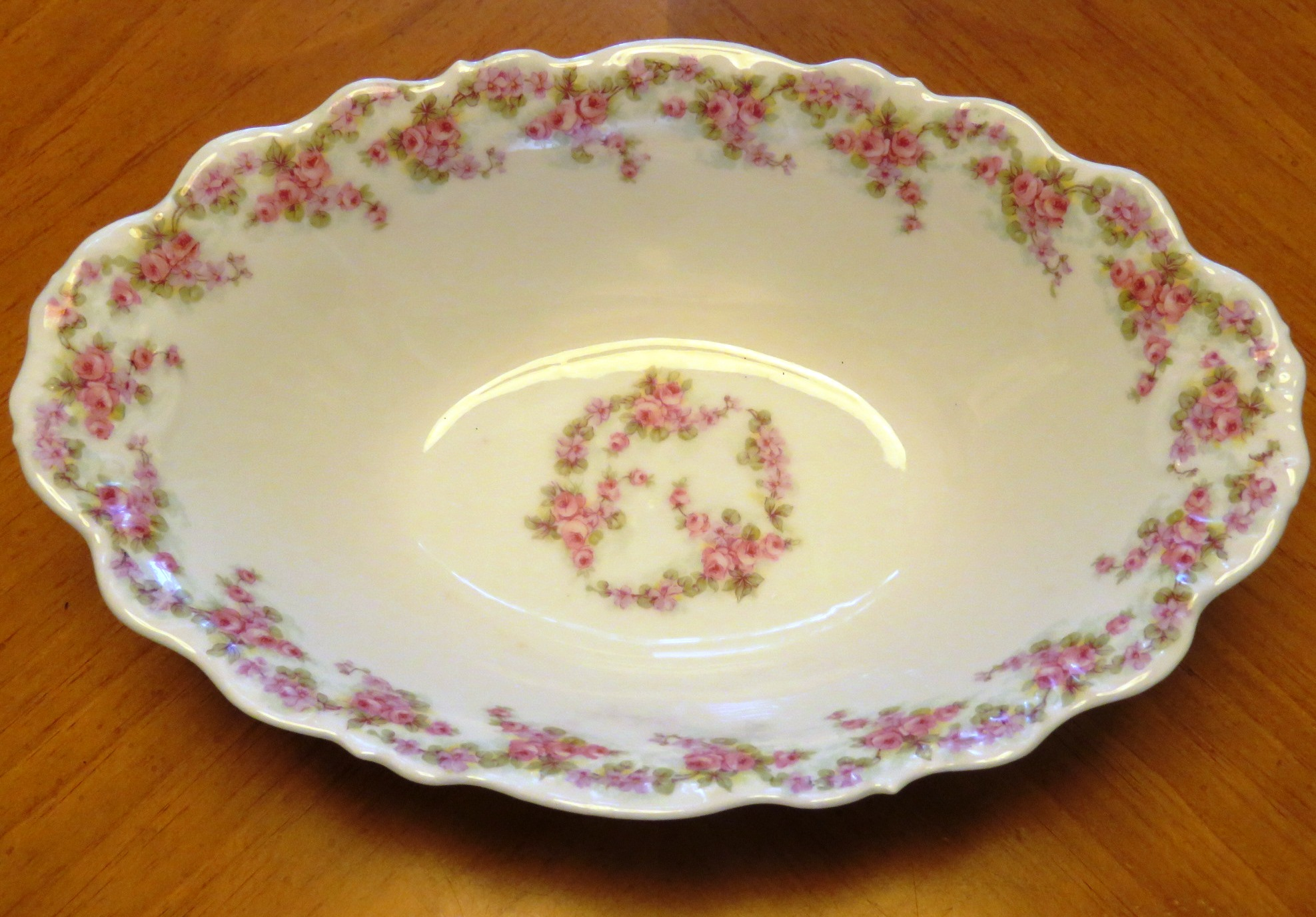 Antique Limoges Bridal Wreath Oval Dish Vegetable Serving Bowl Elite Works Roses (POT-194) in Pottery & Glass > Limoges