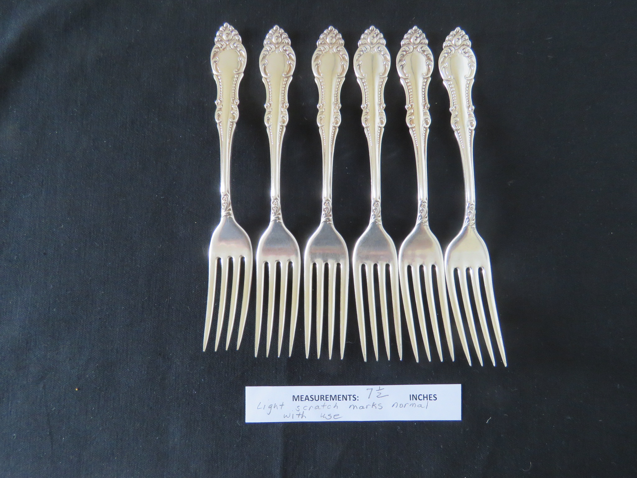 Antique Silverplate Forks Wm A. Rogers Carlton VICTORIAN Fork Set of 6 (SIL-381)